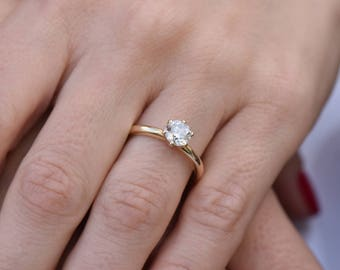 Image is loading AGS-Certified-1-Carat-Diamond-Solitaire-Ring-in-