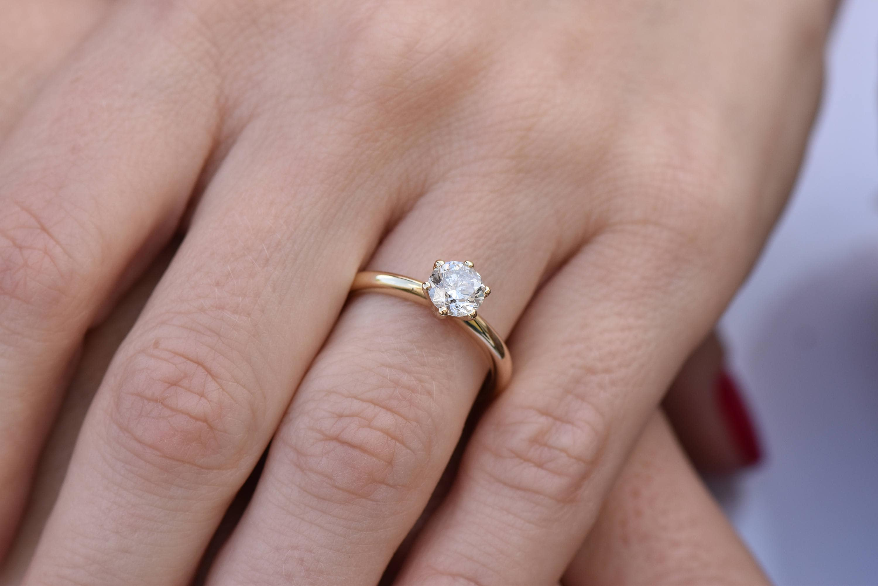 1 carat Solitaire ring-Diamond Engagement Ring-14K Yellow Gold ...