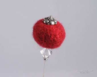 Needle Felted Stick Pin, Red Pin, 3 Inch Pin, Hat Pin, Lapel Pin, Hijab Pin H0151