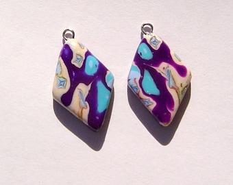 Diamond Delight Charms Handmade Artisan Polymer Clay Charm Pair