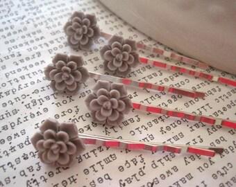 Bobby Pins, 5 Gray Flower Hair Pins, Cherry Blossoms, Sakura, Bridal Hair Accessory, Flower Girl, Small Gift, Gift for Women