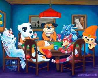 Poker Dogs - Fine Art Print of Original Painting - Video Game Dogs Animal Crossing KK Slider Megaman Rush Poochy Parappa Duck Hunt Nintendo