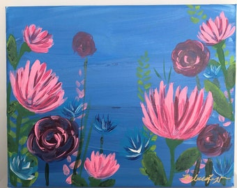 March Florals No. 2: Original 8x11in acrylic fine art painting. Fine art floral painting. One of set of three.