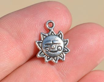"1  Silver Sunshine "" Made with a Smile"" Charm SC1005"