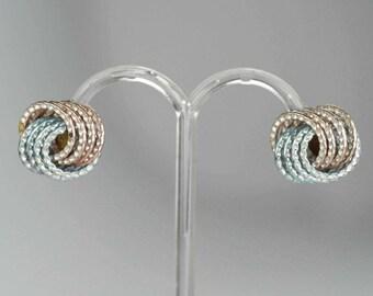 Vintage 1950s Clip-on Earrings Pale Pink & Blue