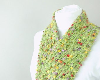 Handknit Green Scarf - Fuzzy Green Lace City Scarf - Field of Flowers for Woman