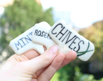 Ceramic Handmade Herb markers illustrated Rosemary, Parsley, Mint painted clay