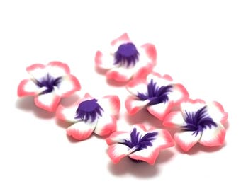 "2 cabochons ""Polynesian flower"", 30 x 8 x 10 mm pink/blue N ° 3"