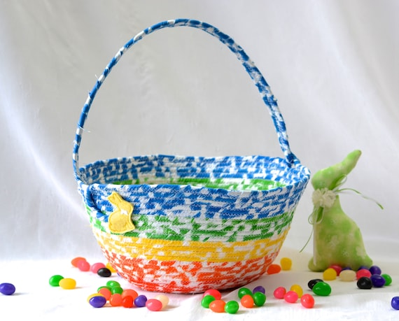 Boy Easter Basket, Handmade Kid's Basket, Cute Candy Bowl, Modern Easter Decorationl, Artisan Quilted Organizer, Rainbow Easter Bucket