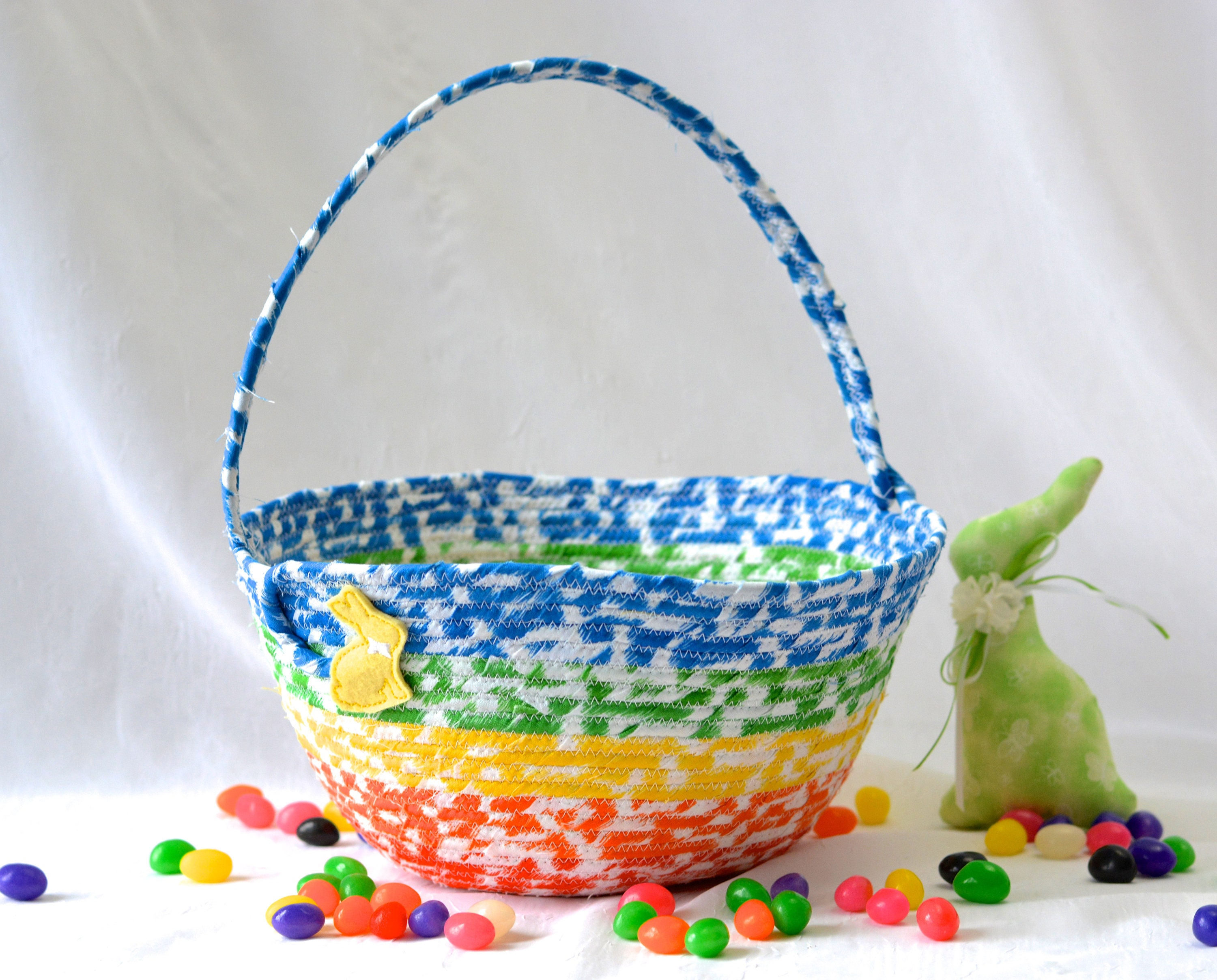 Boy easter basket handmade kids basket cute candy bowl modern boy easter basket handmade kids basket cute candy bowl modern easter decorationl artisan quilted organizer rainbow easter bucket negle Images