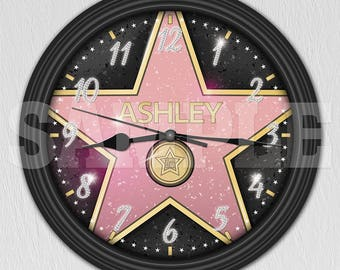 Hollywood Star Personalized Wall Clock - Walk of Fame ITEM#070