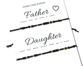 Father Daughter bracelets  Black Morse Code Bracelet Father  Daughter  Gift for Dad from Daughter Fathers day gift Matching Father