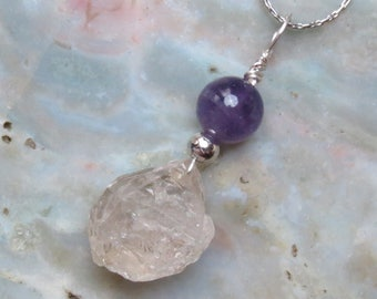 Herkimer Moss Diamond & Amethyst Healing Stone Necklace for the Crown Chakra!