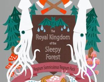 Print: The Royal Kingdom of the Sleepy Forest - Art Illustration Wall decor Squid Mushroom Crest Emblem Nature Wood Bat Slug HineMizushima