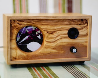 CICERCHIA - Portable Bluetooth personal speaker in solid Olive and Oak wood. Handmade one of a kind with high quality audio components
