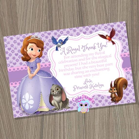 Sofia The First Thank You Card Princess Sofia Thank You Card