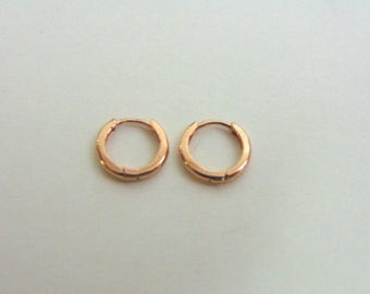 Pr 14K Rose Gold Childs Hoop Earrings, .5g E3532