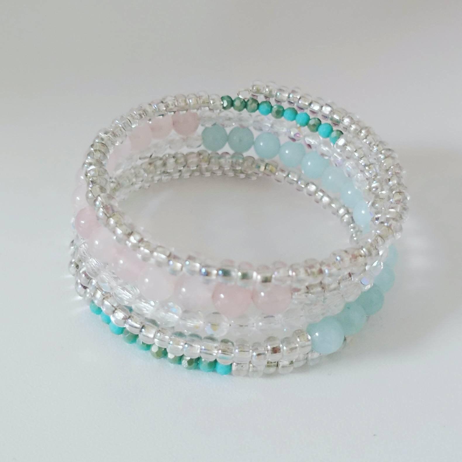 Multi Strand, Memory Wire Gemstone Bracelet, Handmade Bracelets ...
