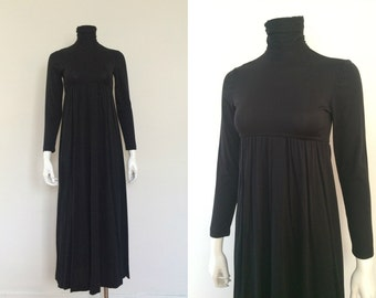 Vintage 1970s Black Tubular Neck Maxi Dress - Mod Minimalist Avant-Garde