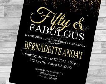Fifty & Fabulous Birthday Invitation