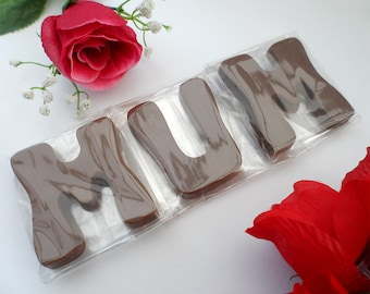 Mum Birthday Gift, Mothers Day Chocolate Letters, Large Edible Initials Mum Gift Idea, Luxury Belgian Chocolate Gift, Milk Chocolate Letters