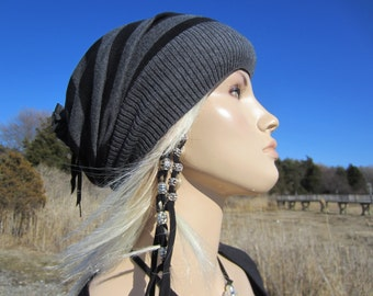 Lightweight Slouchy Beanie Striped Black Gray Stripe Womens Cotton Knit Hat A1497