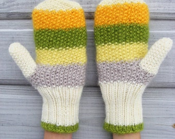 Yellow winter gloves, cute women mittens, winter acessory, warm wool mittens, colorful, striped, gift for her.