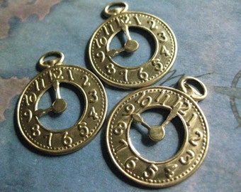 4 PC Raw Brass Pocket Watch Finding / Charm - CC12