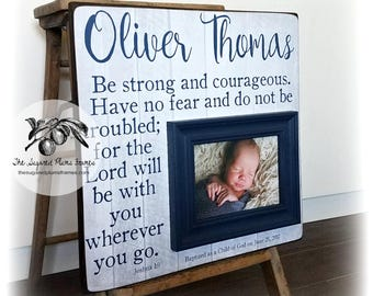 Baptism Gift Boy, Baptism Gift For Godson, Be Strong and Courageous, Gifts From Godparents, 16x16 The Sugared Plums Frames