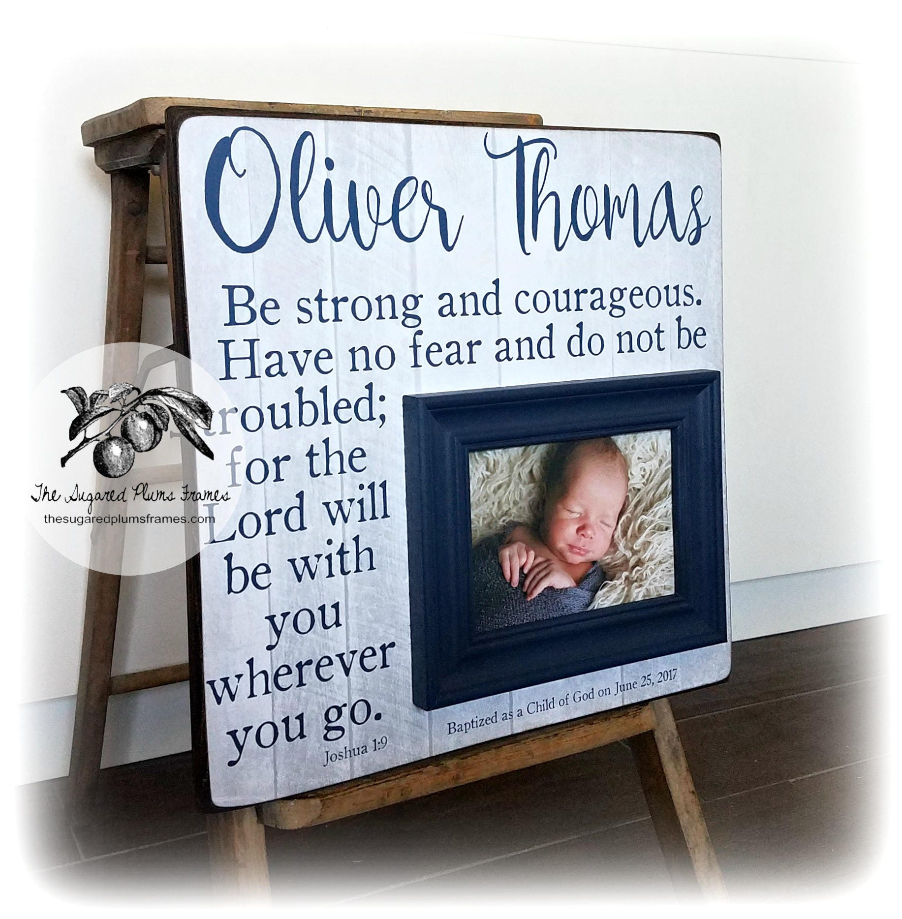 Baptism Gift Boy, Baptism Gift For Godson, Be Strong and Courageous ...