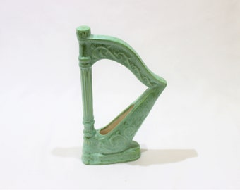 Vintage Small Harp Planter, Mini Green Harp