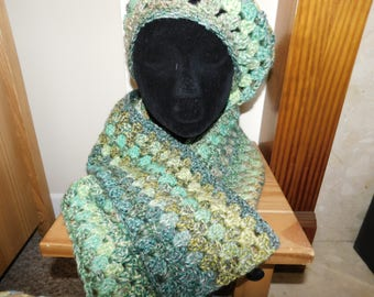 Ladies hand crochet hat & scarf set - in shades of greens