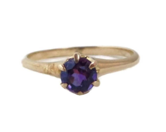Vintage Amethyst Ring, Gold Ring, Antique Ring, February Birthstone, Solitaire Ring, Solid Gold Ring, Statement Ring, Cocktail Ring