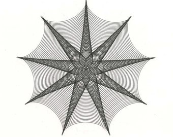 "9 Point Star Original Ink Drawing, Spider Web Abstract Artwork geometric star modern black & white line drawing parametric drawing 12"" x 12"""