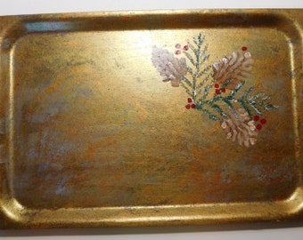 Hand painted fiberglass serving tray with pinecones