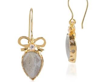 Labradorite Drop Bow Earrings with a diamond touch, labradorite earrings, dangling earrings, zirconium diamond earrings, little bow earrings