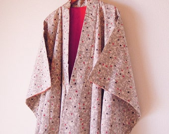 1950's Antique Japanese Kimono/Silk Robe/Japanese Robe/Dot Pattern