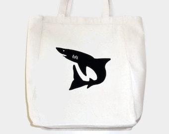 Shark Tote Bag, Children or Adult Beach or Pool Bag, Black Silhouette Shark, Iron On Applique Design, Shark Gift for Children or Adults