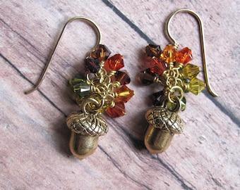 Acorn Charm Earrings, Acorn Earrings, Swarovski Earrings, Fall Earrings, Autumn Earrings, Dangle Earrings, Topaz Earrings, Red Earrings