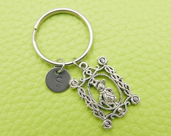 Mr Rabbit Alice initial Keychain personnalized stainless steel Keyring