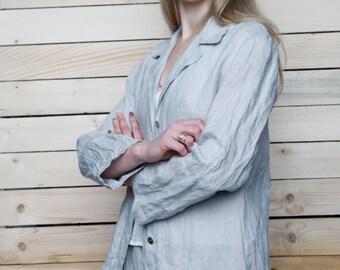 Pure Linen Loose Oversize Blazer/ Flax Jacket/ Natural Linen Blazer/ Linen Outwear/ Casual Jacket