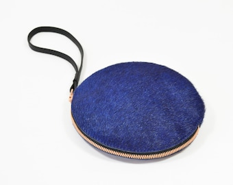 Cici - Handmade Blue Hair On Hide Leather Clutch Bag Zip Pouch Purse
