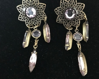 Vintage Art Nouveau Flower Earrings