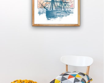 Old Ship Poster with Vintage map II - Art print A3 plus size Poster , sea life A3 plus Wall decor  Poster NTC056A3P