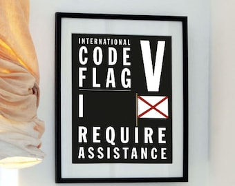 Letter V - I require assistance - Bus Roll style - April Fools Day Fun - International Code Flag