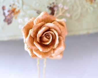 Bridal Gold Rose Hair Pin with Handwired Swarovski Crystals