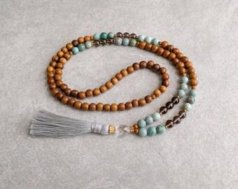 The LIBRA Mala - Smoky Quartz & African Jade with Quartz Crystal / Robles Wood - Gray Tassel - Item # 707