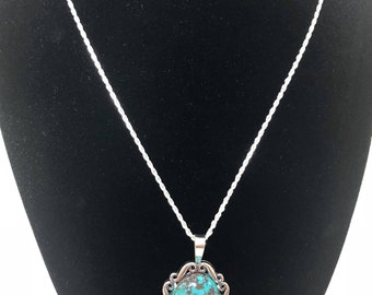 Sterling silver oval turquoise pendant with chain necklace