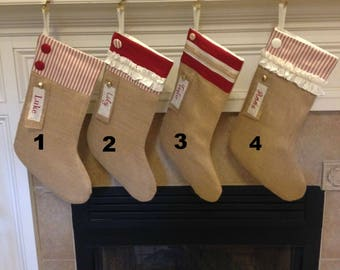 Personalized Red Burlap Christmas Stockings, Personalized Red Burlap Stockings, Handmade Stocking, Farmhouse Stockings, Matching Stockings