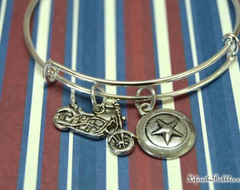 Captain America /Steve Rogers Bangle Bracelet, Vibranium Shield, And Motorcycle Charms / First  Avenger, Marvel, by Life is the Bubbles